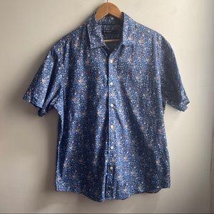Daniel Cremieux blue floral button down shirt